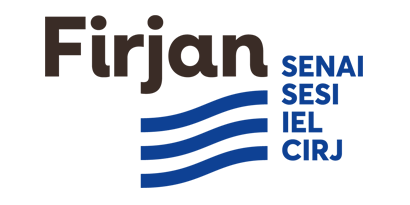 Logotipo com os textos Firjan Senais, Sesi, IEL e CIRJ