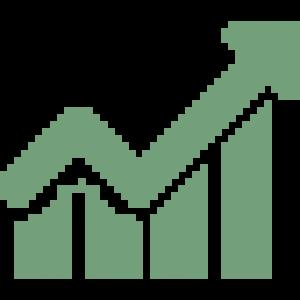 Ícone de um gráfico crescente