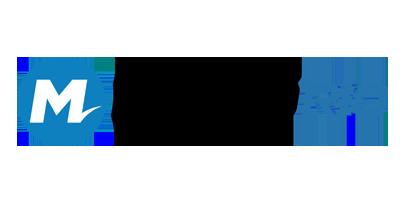 Logotipo com a letra M dentro de u círculo azul e, ao lado, o texto Metrô Rio
