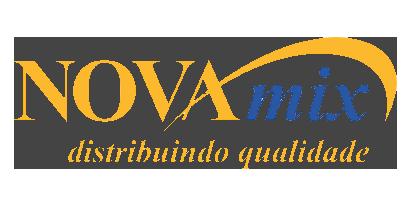 Logotipo com os textos Novamix distribuindo qualidade.